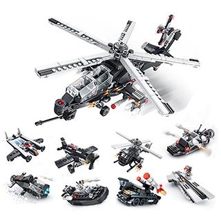 潘洛斯积木拼装玩具武装直升机(8合1)