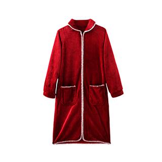 Reina瑞娜法兰绒女士加厚长款浴袍