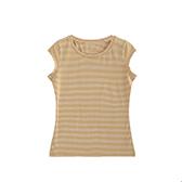 Pima皮马棉女士细条纹T恤(圆领)