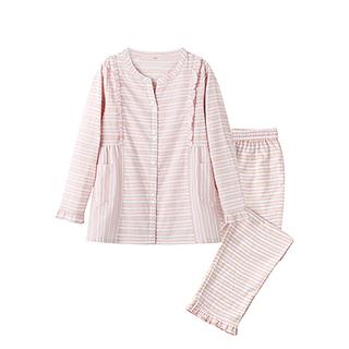 Alisa全棉双层纱女士家居服套装(条纹款)