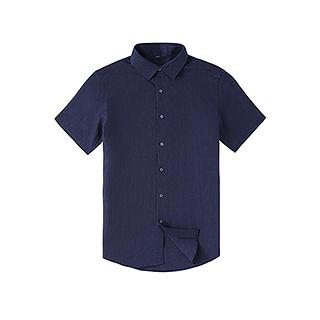 Farris亚麻系列短袖衬衫-男士方领