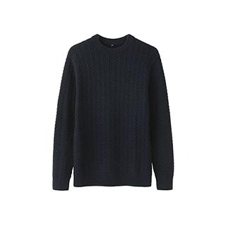 Winnie全羊毛复古编织针织衫-男士圆领