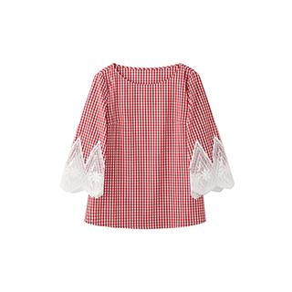 Aragaki日系甜美格纹衬衫