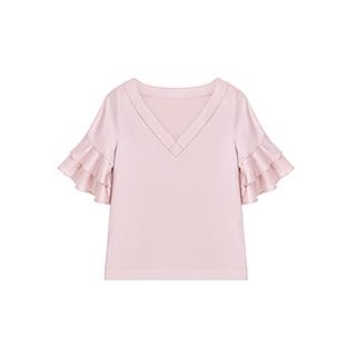 Lotus灵动荷叶边气质V领衬衫