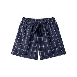 Carry水洗棉系列休闲阔腿短裤-女士格纹
