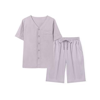 Yuzuru夏日祭水洗棉家居套装-男士纽扣