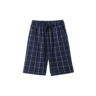 Carry水洗棉系列休闲阔腿中裤-男士格纹