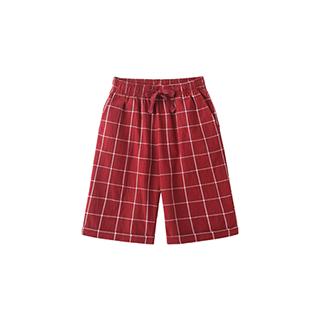 Carry水洗棉系列休闲阔腿中裤-儿童格纹