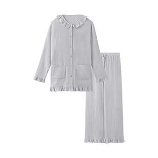 Softer双层纱长袖家居套装-女士荷叶领