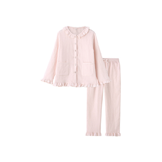 Softer双层纱长袖家居套装-女童荷叶领