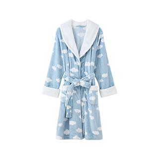 Cloudy云朵法兰绒长款浴袍-女士系带
