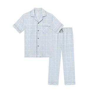 Kona双层纱短袖家居套装-男士格纹