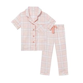 Kona双层纱短袖家居套装-儿童格纹