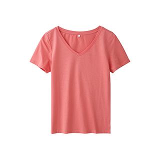 Ennis丝光棉简约短袖T恤-女士V领