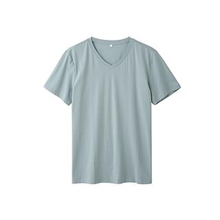 Ennis丝光棉简约短袖T恤-男士V领