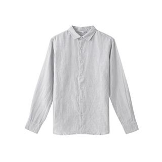 Farris亚麻系列短袖衬衫-男士纽扣