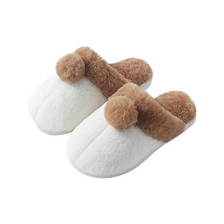 Kate仿兔绒拼色毛球拖鞋