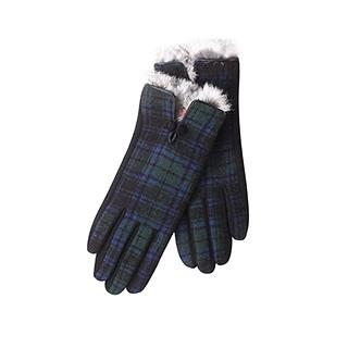 Englon经典格纹女士羊毛呢手套