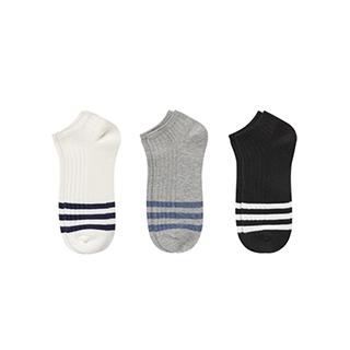 Alika棉质条纹浅口袜-男士(3双装)