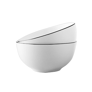 Ingrid英格丽银边系列骨瓷碗2只装(4.5英寸)