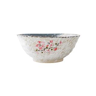 Snowing雪花釉系列傲雪寒梅陶瓷汤碗(8英寸)