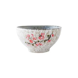 Snowing雪花釉系列傲雪寒梅陶瓷碗(4.5英寸)