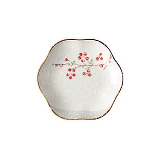 Snowing雪花釉系列雪樱子陶瓷梅花盘(8英寸)