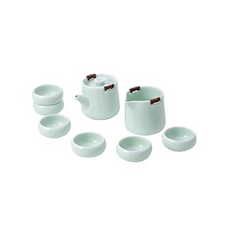 Lotus青烟细雨哥窑茶具礼盒(8件组)