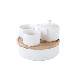 Gentle古朴系列隽菱纹陶瓷茶具礼盒(5件组)