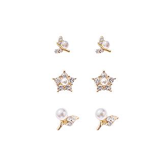 Cheryl雪莉尔饰品系列-时尚珠饰耳钉套装(3对装)