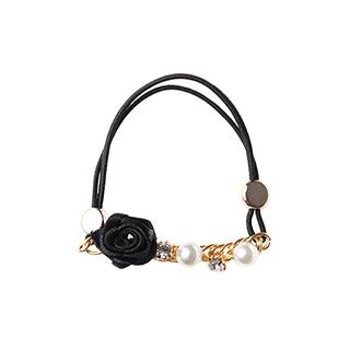 Cheryl雪莉尔饰品系列-珍珠链条花朵发绳