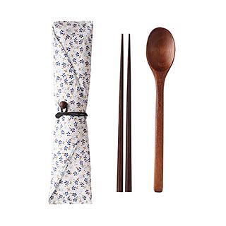 Justine便携式木质筷勺两件组(含布套)