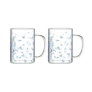 Hills耐热玻璃系列水杯2只装-幸福鸟款(350ml)