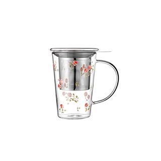 Shelley耐热玻璃系列泡茶杯-玫瑰款(400ml)