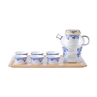 Mulan优雅青花系列陶瓷茶具礼盒(9件组)