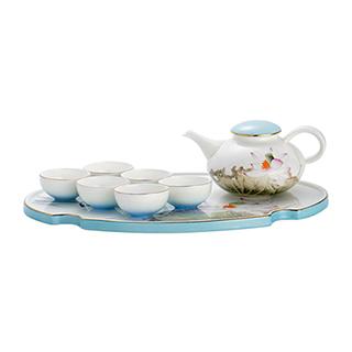 Loren雨后清荷骨瓷茶具礼盒(8件组)