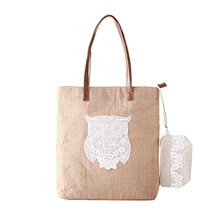 Magee天然麻布系列环保手拎袋两件组(猫头鹰款)