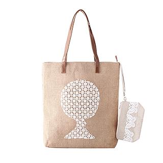 Magee天然麻布系列环保手拎袋两件组(大树款)