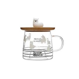 Lovey萌系高硼硅玻璃马克杯-羊驼A款(310ml)