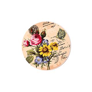 Paddy彩陶系列吸水防滑杯垫-玫瑰菊花
